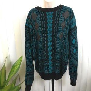 Vintage 80s 90s Oversized Geometric Sweater